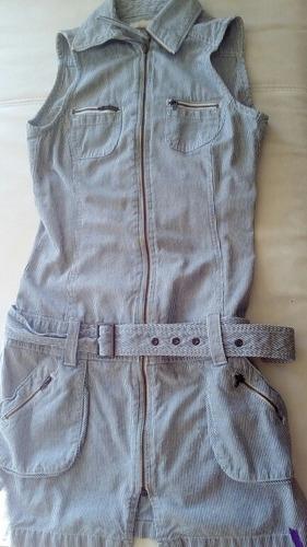 lindo vestido denim con cinturon