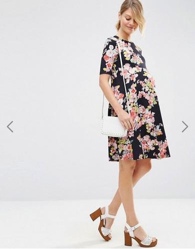 lindo vestido embarazada floreado, talla 40