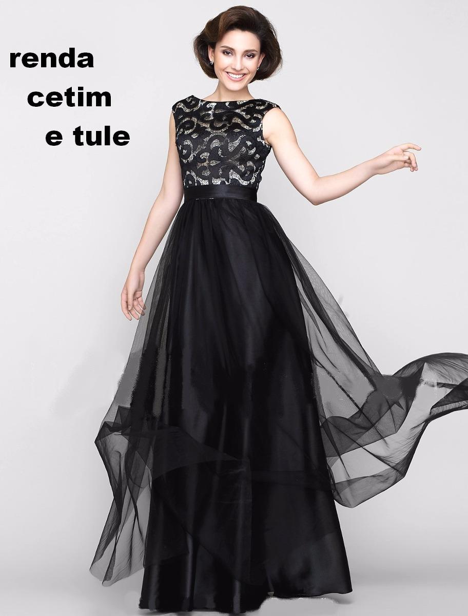 b1ac36379 lindo vestido longo com renda cetim e tule festa casamento. Carregando zoom.