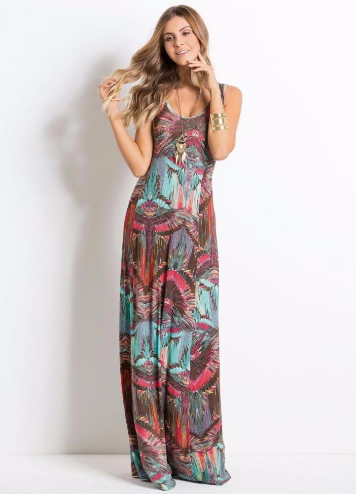5c49a65e9a17 Lindo Vestido Longo Estampado Casual Promoção - R$ 110,00 em Mercado ...