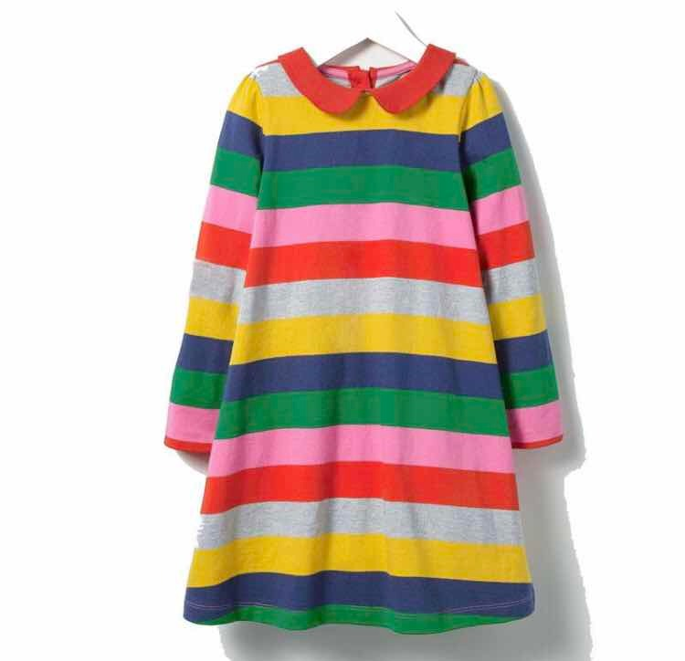 Lindo Vestido Para Niñas De Rayas 100% Algodón c353847886b3