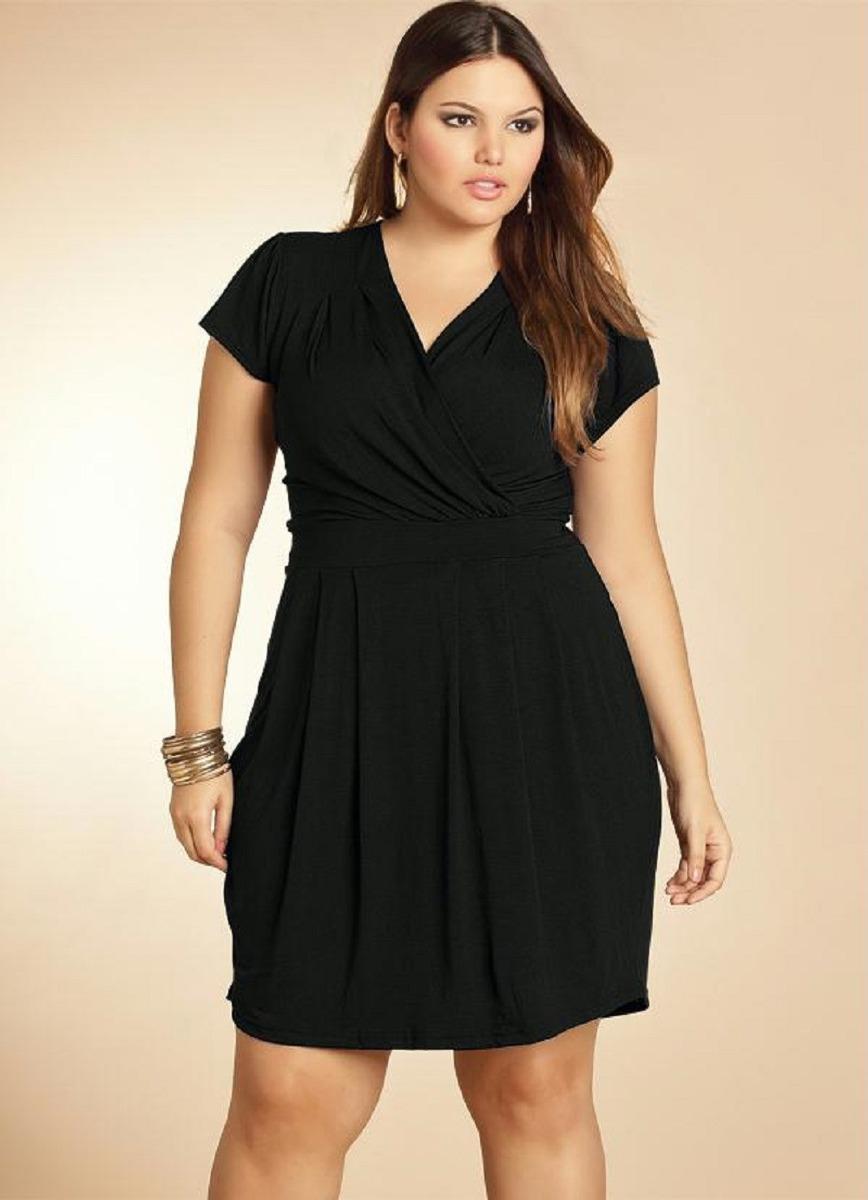 Lindo Vestido Plus Size Acinturado E Transpassado Até Tam 60