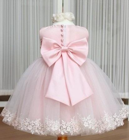 Lindo Vestido Rosa Psua Princesa Menina Festa Casamento