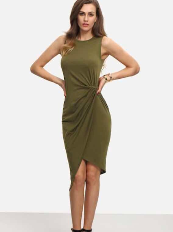 Lindo Vestido Verde Olivo Talla M Nuevo Importado