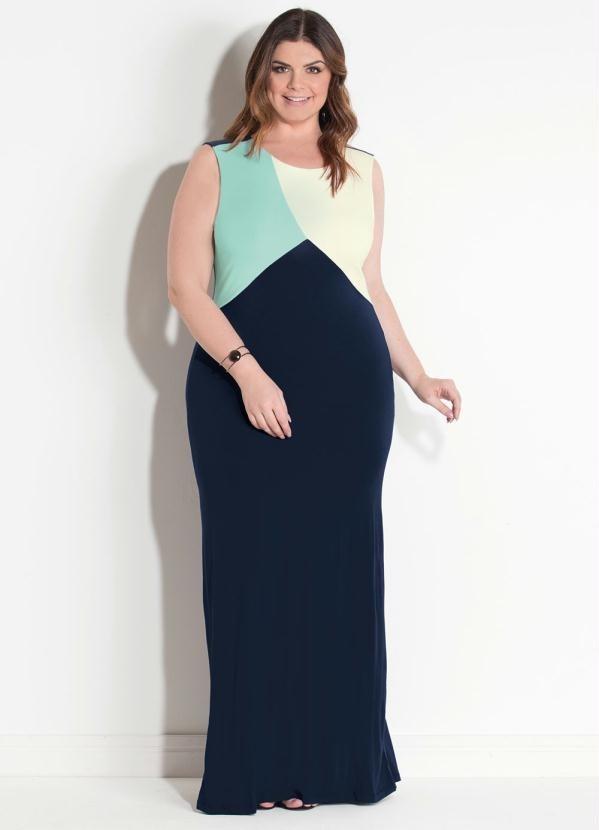 bdfef7039a lindo vestidos femininos plus size longo tricolor marinho. Carregando zoom.