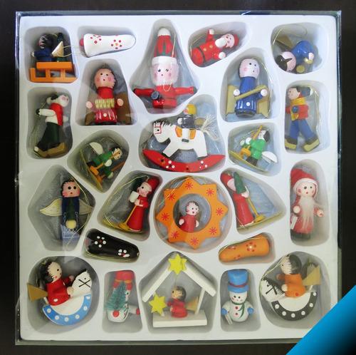 lindos adornos navidad colgables madera 24 figuras - bigbull