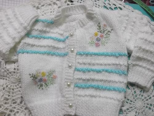 lindos conjuntos tejidos a mano para bebe