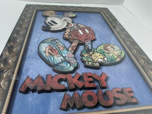 lindos quadros mickey e minnie em alto relevo kit 2 quadros