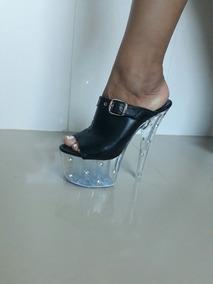 a62046c53 Tamanco Prata Com Salto Transparente Lindo - Calçados, Roupas e Bolsas com  o Melhores Preços no Mercado Livre Brasil
