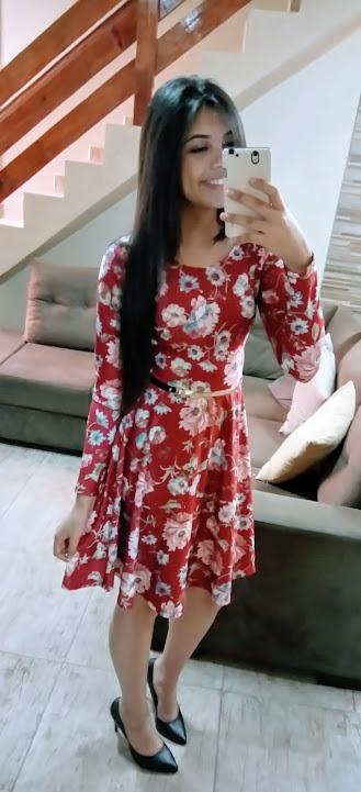 a358ac026 Lindos Vestido Evangélicos Godê Midi Floral Manga Longa - R  110