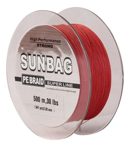 linea trenzada sunbag 500 mts 20, 25, 30, 40, 50, 60 lb roja