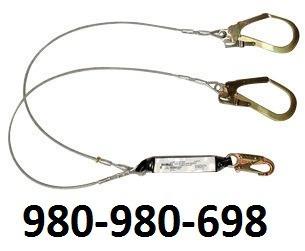 linea vida doble dos 2 gancho cable acero amortiguador sala