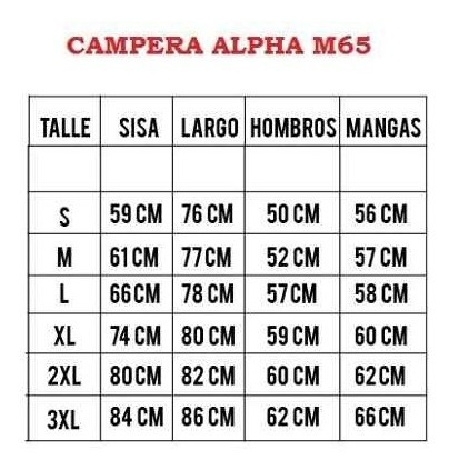 liner alpha industries abrigo para camperea m-65 originales