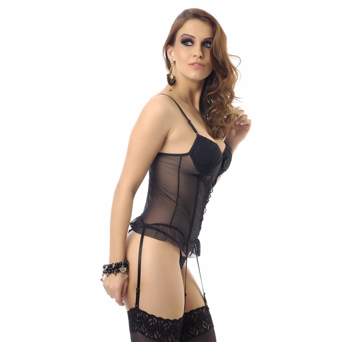 3f32bbcf0 lingerie espartilho em tule e renda preto p, m ou g. Carregando zoom.