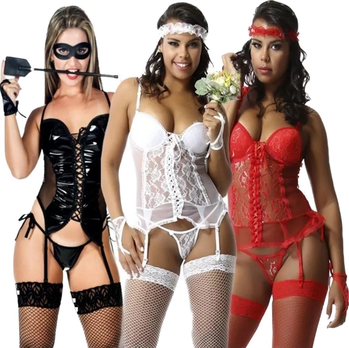 905d227fe lingerie espartilho sexy kit 3 em 1 espartilhos sex +brinde. Carregando  zoom.