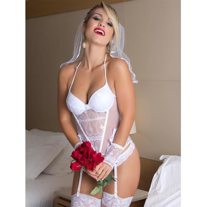 a18f2f35091 Lingerie Fantasia Feminina Erótica Sensual Noiva Sexy - R$ 99,90 em ...