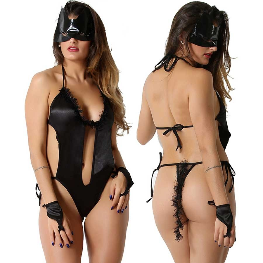 bdc1b4ea3171f lingerie fantasia mulher gato completa erótica body sensual. Carregando  zoom.