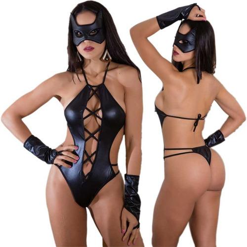 lingerie fantasia mulher gato erótica body sexy frete grátis
