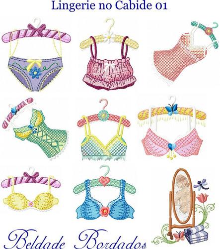 lingerie no cabide 01 - coleção de matriz de bordado