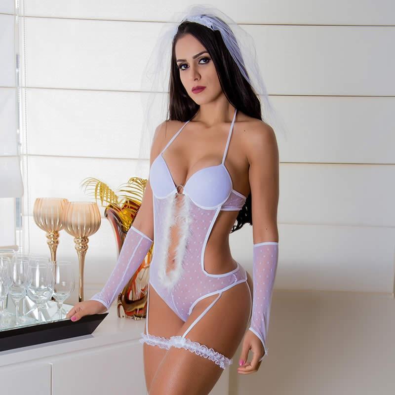 eaad3c290 lingerie noite de nupcias noiva sensual com véu cor branca. Carregando zoom.