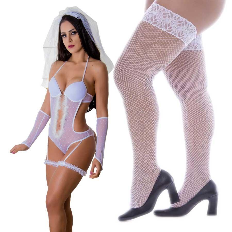 lingerie noivinha fantasia noiva lua de mel +meia grátis. Carregando zoom. 66c1bbd966a