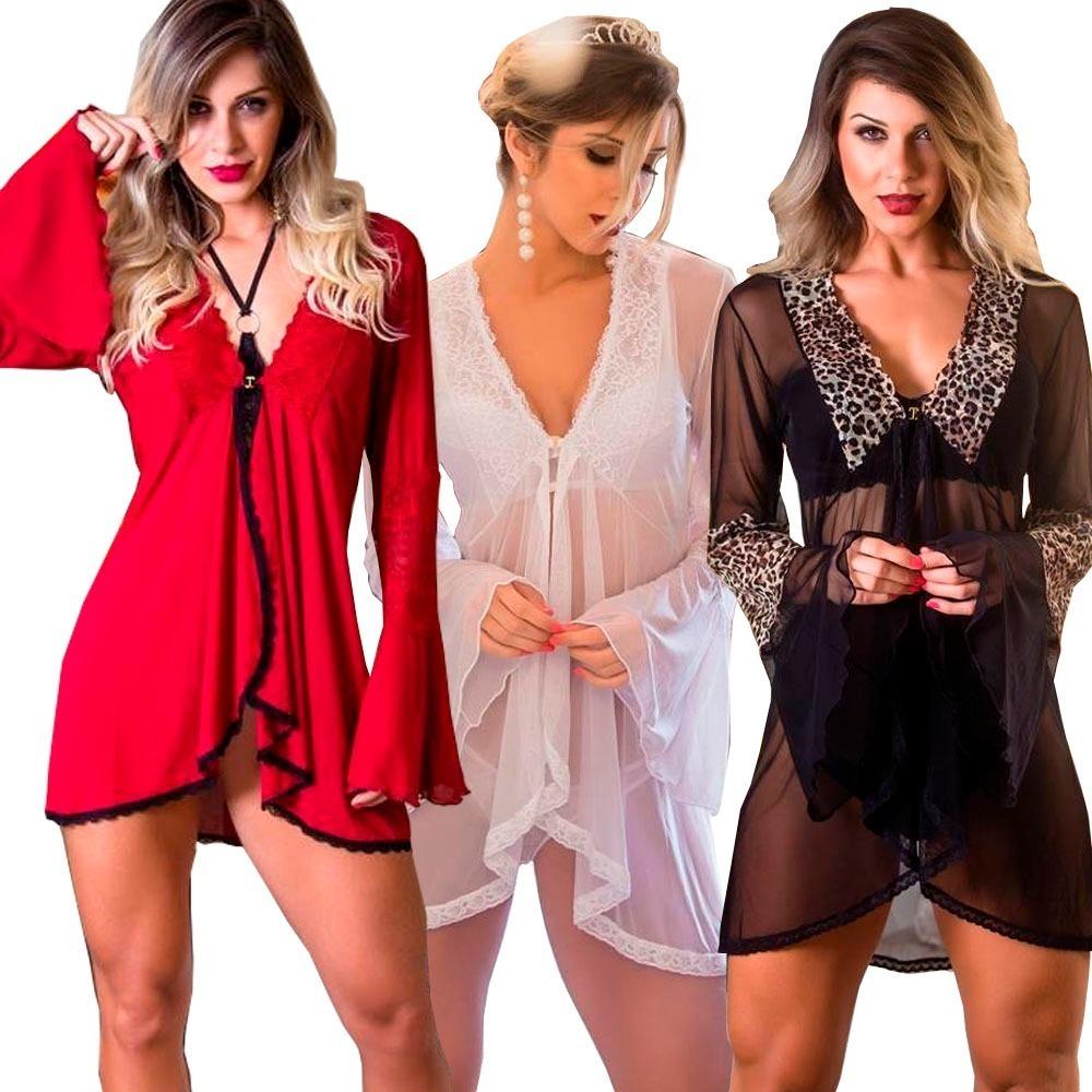 3c9971032c774b Lingerie Roby Robe Camisola Negligê Noiva Noite Nupcias Robi