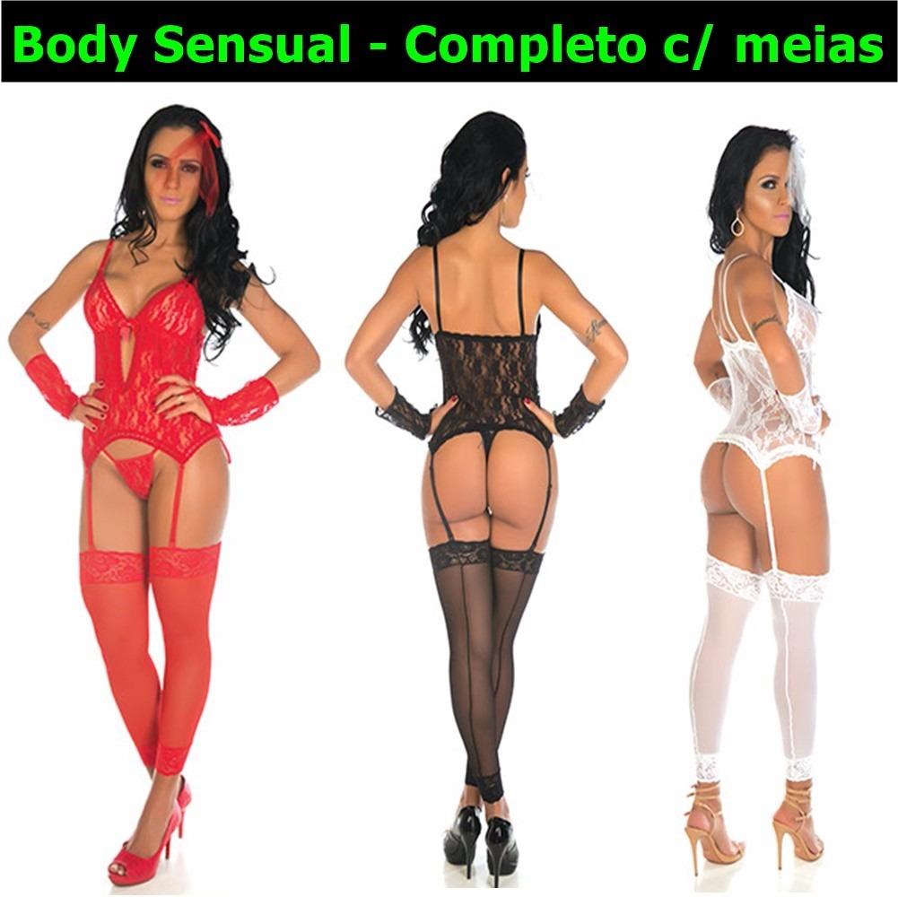5f145f67e Lingerie Sensual Espartilho Sexy Cinta Meia Noiva Body Luva - R  80 ...