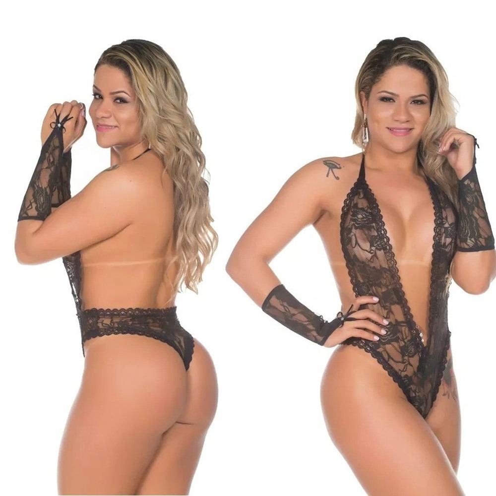 e3ca48e10 lingerie transparente rendada body sensual sexy luvas. Carregando zoom.