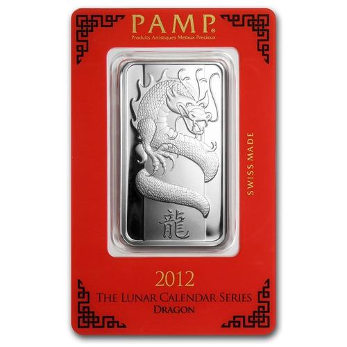 lingote 1 onza plata pura .999 pamp suisse año del dragón