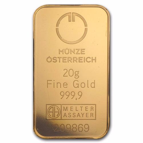 lingote 20 gramos oro puro .9999 austrian mint / certificado