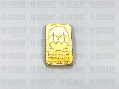 lingote de oro 24 kt.10 g banco ciudad *joyeriaeltasador*