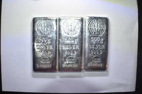 lingote de plata pura 999 de 500 gramos nadir certificado