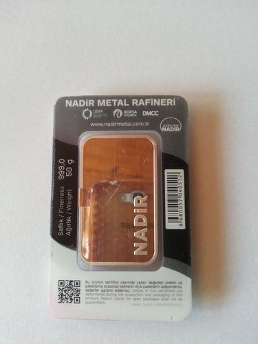 lingote de plata pura 999 x 50gramos nadir metal rafineri