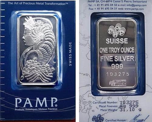 lingotes de plata 1 onza pamp suisse lady fortuna 999.0