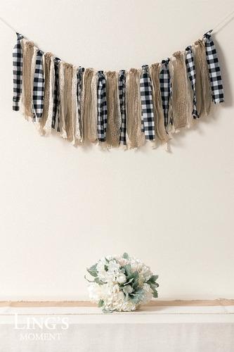 lings moment - guirnalda de tela con borla, diseño de búfalo