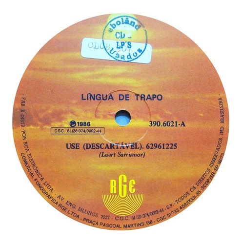 lingua de trapo single 1986 use descartável marcinha 13903