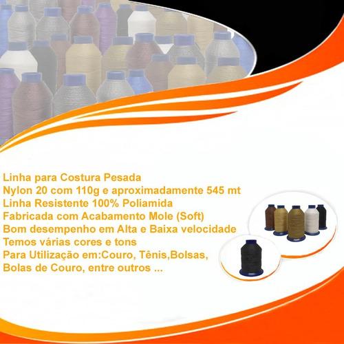 linha de nylon 20 costura 100% poliamida 110 gr kit 03 cones