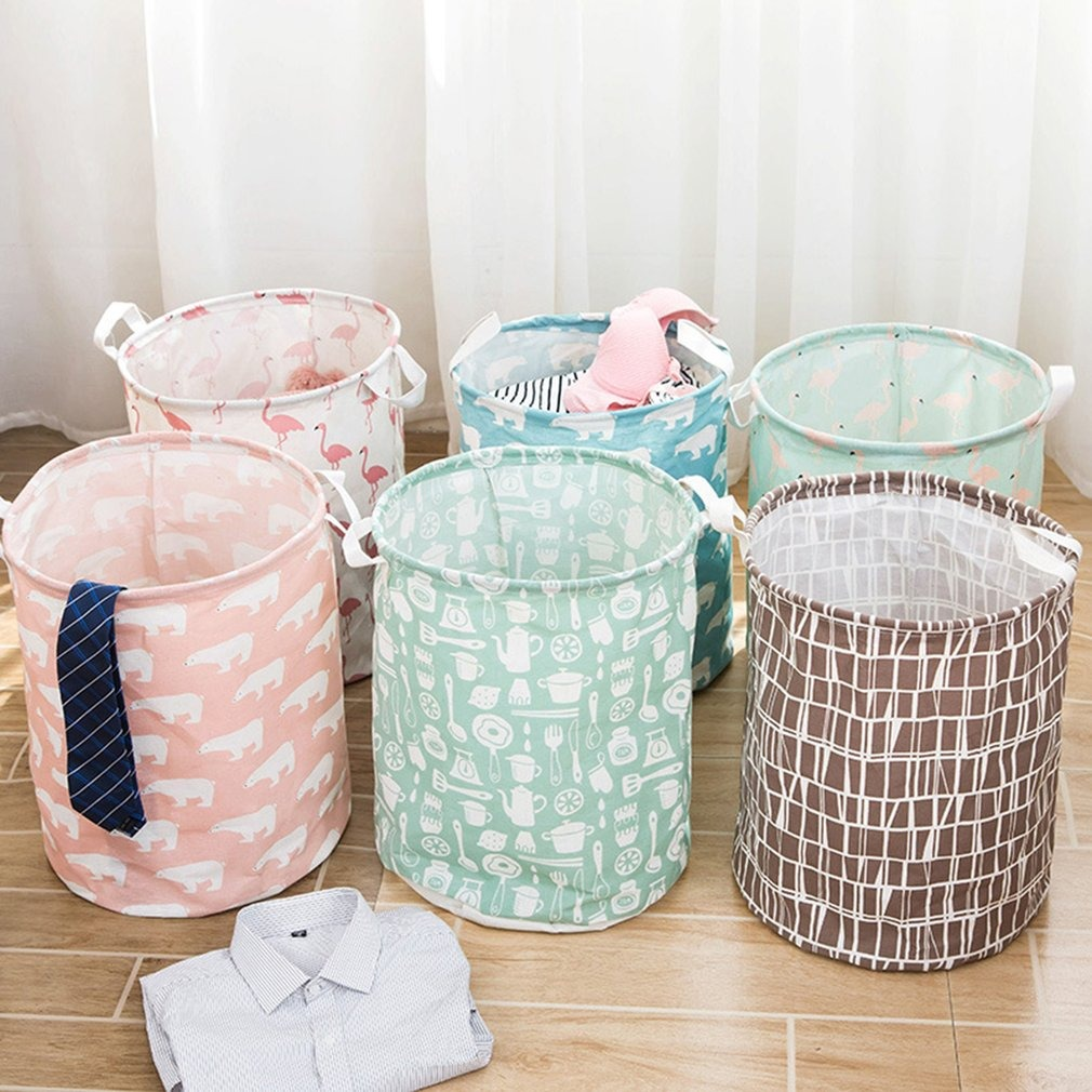 Display08 Cesta plegable de algod/ón de lino para la ropa de lavado.