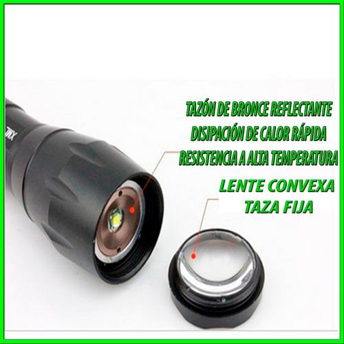 linterna 2000 lumens 5 modos t-6 enfoque y desenfoque  recar