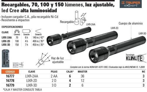 linterna aluminio recargable 70 lumenes truper expert 16777