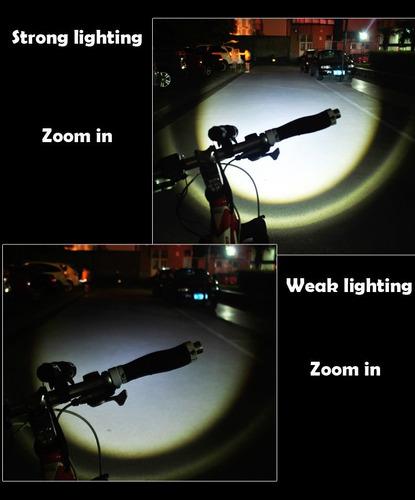 linterna bicicleta led  2000 lumen+soporte+pila+cargador