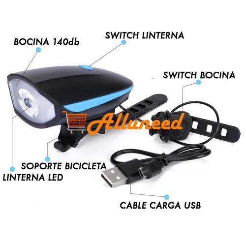 linterna bicicleta luz led y bocina timbre 140db recargable
