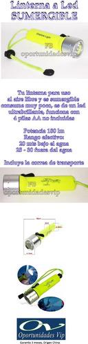 linterna buceo acuatica sumergible luz led gran potencia
