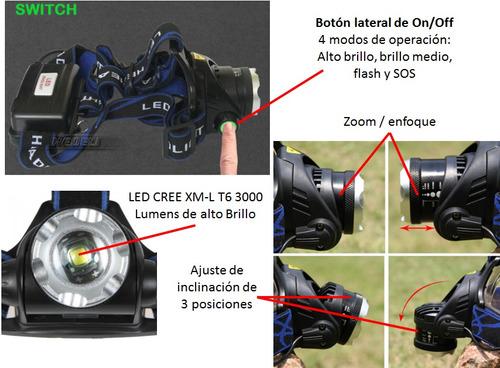 linterna cabeza led cree t6 3000 lúmen + cargador y baterías