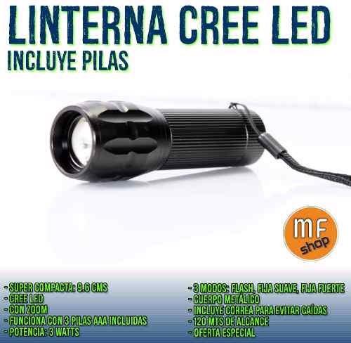 linterna cree led a pilas con zoom telescópico incluye pila