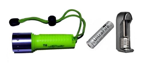 linterna de buceo, inc batería y cargador, 750 lum. reales!