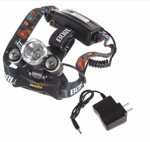 linterna de cabeza 5000 lm 3 leds + cargador + bateria ult