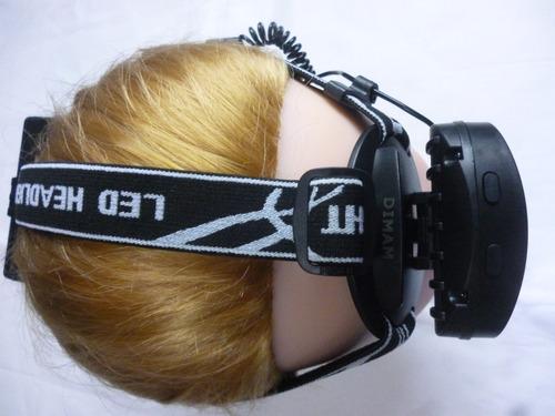 linterna de cabeza con 4 led 2 faro trekking runner sensor