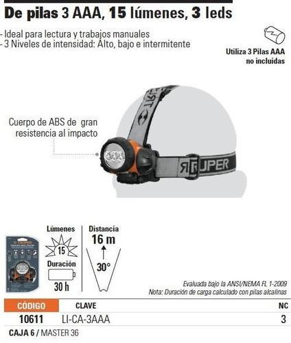 linterna de cabeza de pilas 3aaa 60 lumenes truper (10611)