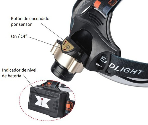 linterna de cabeza led cree t6 2000lúmen +cargador+2baterías